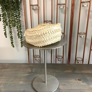 Vintage Cream Pillbox Hat with Ribbon Accent